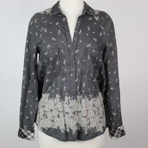 FREE PEOPLE Dottie Over You Chambray Shirt XS